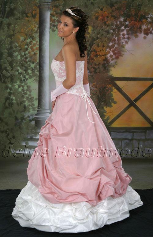 Brautkleid Kleid trägerlos weiß rosa ivory creme Hochzeitskleid ...